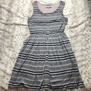 Come Toi Striped Sundress Grey/Blue Wooden Buttons